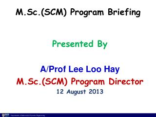 M.Sc.(SCM) Program Briefing