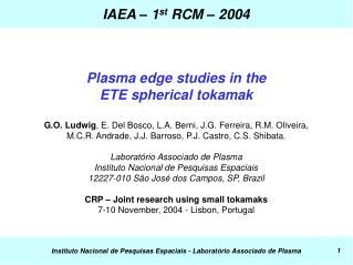 IAEA – 1 st  RCM – 2004
