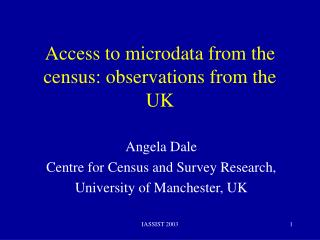 Access to microdata from the census: observations from the UK