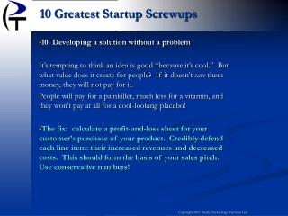10. Developing a solution without a problem