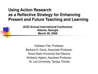 Kathleen Fite, Professor Barbara H. Davis, Associate Professor Texas State University-San Marcos