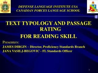 DEFENSE LANGUAGE INSTITUTE USA CANADIAN FORCES LANGUAGE SCHOOL
