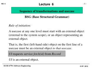 Sequence of transformations and usecase   BSG (Base Structural Grammar)