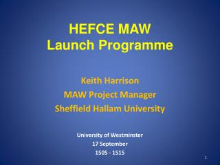 HEFCE MAW Launch Programme