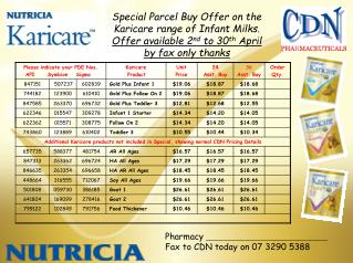 Special Parcel Buy Offer on the Karicare range of Infant Milks.