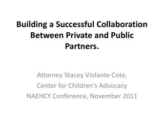 Building  a  Successful Collaboration  B etween Private  and  Public  Partners.