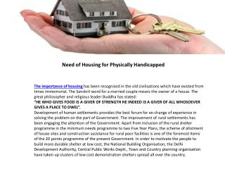 Need of Housing for Physically Handicapped