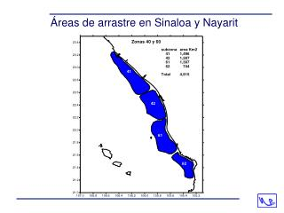 Áreas de arrastre en Sinaloa y Nayarit
