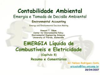 Contabilidade Ambiental Emergia e Tomada de Decis o Ambiental