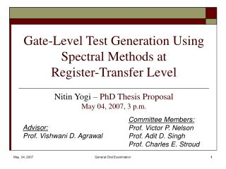 Gate-Level Test Generation Using Spectral Methods at  Register-Transfer Level