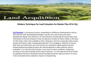 Modern Technique For Land Caluation For Master Plan Of A Cit