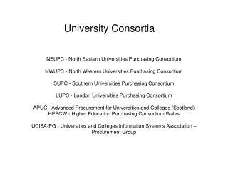 University Consortia