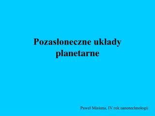 Pozasłoneczne układy planetarne