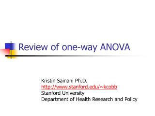 Review of one-way ANOVA