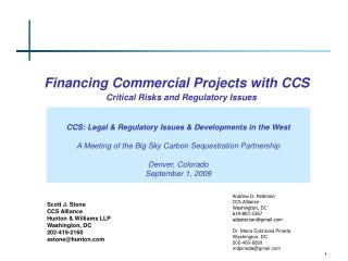 Financing Commercial Projects with CCS   Critical Risks and Regulatory Issues