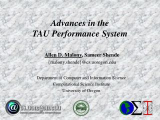 Advances in the TAU Performance System