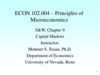 ECON 102.004 � Principles of Microeconomics