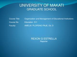 UNIVERSITY OF MAKATI GRADUATE SCHOOL