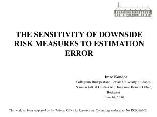 THE SENSITIVITY OF DOWNSIDE RISK MEASURES TO ESTIMATION ERROR