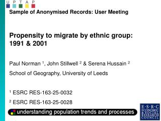 Sample of Anonymised Records: User Meeting Propensity to migrate by ethnic group: 1991 & 2001