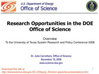 Research Opportunities in the DOE Office of Science