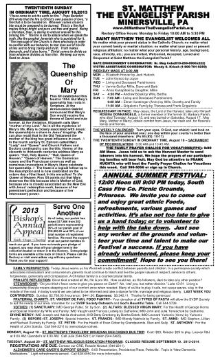 TWENTIENTH SUNDAY  IN ORDINARY TIME, AUGUST 18,2013