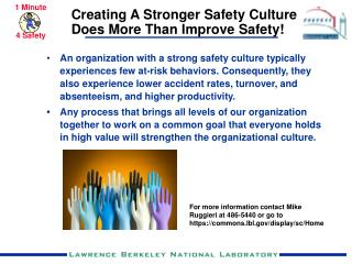 Creating A Stronger Safety Culture Does More Than Improve Safety!