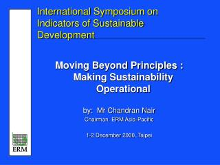 International Symposium on Indicators of Sustainable Development