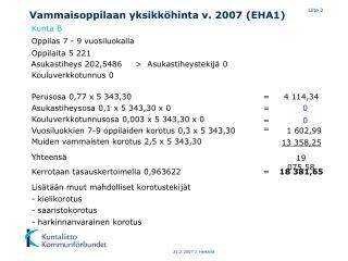 Vammaisoppilaan yksikköhinta v. 2007 (EHA1)
