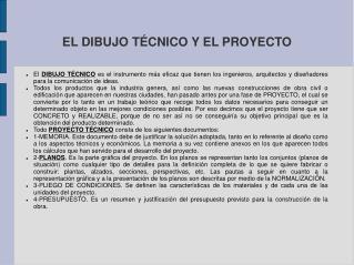 EL DIBUJO T�CNICO Y EL PROYECTO