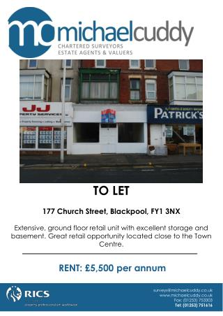 TO LET 177 Church Street, Blackpool, FY1 3NX