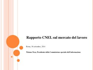 Rapporto  CNEL  sul mercato  del  lavoro Roma, 30  settembre , 2014