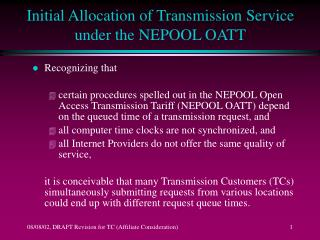 Initial Allocation of Transmission Service under the NEPOOL OATT