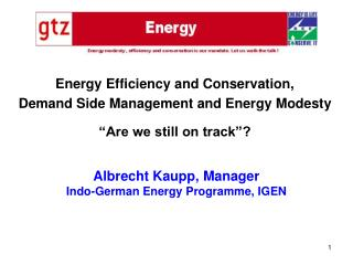 Albrecht Kaupp, Manager Indo-German Energy Programme, IGEN