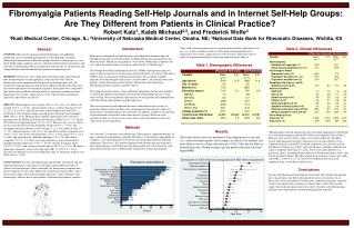 Fibromyalgia Patients Reading Self-Help Journals and in Internet Self-Help Groups: