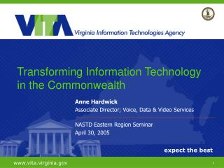 Anne Hardwick Associate Director; Voice, Data & Video Services NASTD Eastern Region Seminar