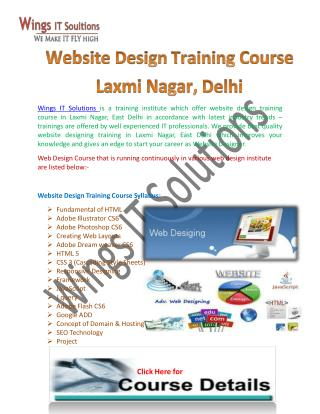 Web Designing Training Institute in Laxmi Nagar, Delhi