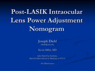 Post-LASIK Intraocular Lens Power Adjustment Nomogram