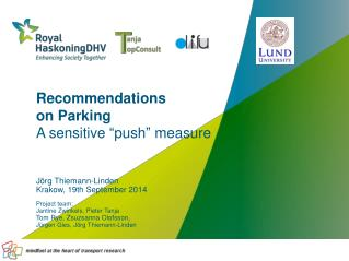 "Recommendations  on Parking  A sensitive ""push"" measure"