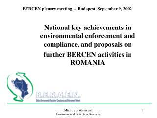 BERCEN plenary meeting  -  Budapest, September 9, 2002
