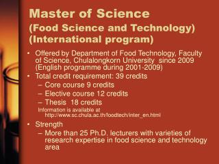 Master of Science (Food Science and Technology) (International program)