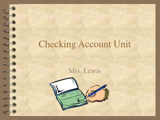 Checking Account Unit