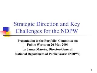 Strategic Direction and Key Challenges for the NDPW