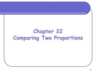 Chapter 22 Comparing Two Proportions