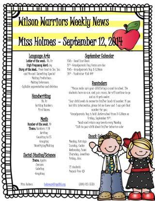 Wilson Warriors Weekly News Miss Holmes – September 12, 2014