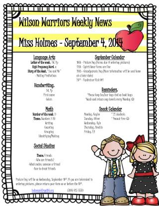 Wilson Warriors Weekly News Miss Holmes � September 4, 2014