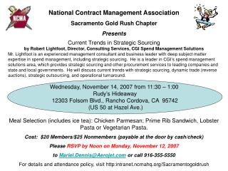 National Contract Management Association Sacramento Gold Rush Chapter Presents