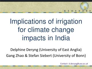 Implications of  irrigation  for c limate  c hange  i mpacts  in  India