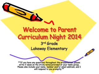 Welcome to Parent Curriculum Night 2014