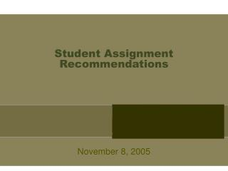 Student Assignment Recommendations